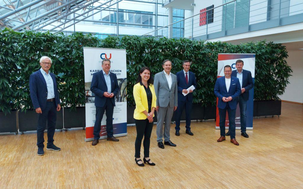 v.l.n.r.: Dr. Gernot Kalkoffen (Präsidium CU), Helmut Dammann-Tamke (MdL), Katharina Lech-ler (CU), Dr. Gunnar Merz (CU), David McAllister (MdEP), Kai Seefried (MdL) und Oliver Grundmann (MdB)